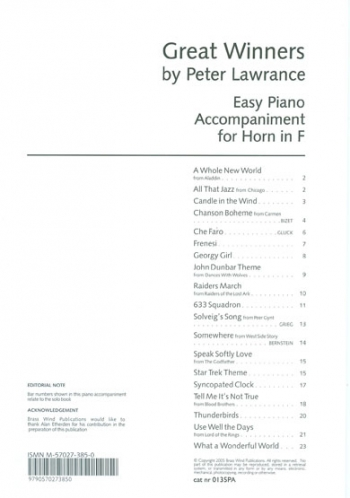 Great Winners: F Horn: Piano Accompaniment(Lawrance)