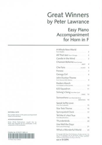 Great Winners: F Horn: Piano Accompaniment(Lawrance)
