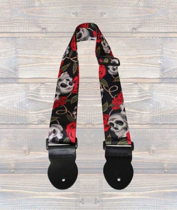 Leathergraft Guitar Strap - Skulls & Roses