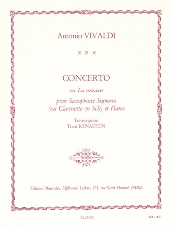 Concerto A Minor RV461: Soprano Sax And Piano (Leduc)
