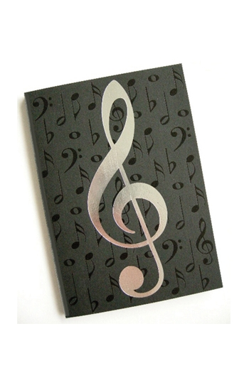 Journal/Notebook A6 Black Notes Silver Clef