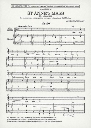 St Annes Mass: Vocal SATB: New 2011 Edition