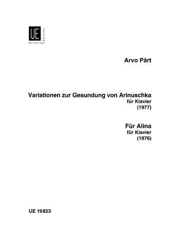 Variationen Zur Gesundung Von Arinuschka: Fur Alina: Piano (Universal)