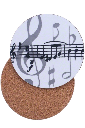 Mugmats Grey Music Notes Coasters