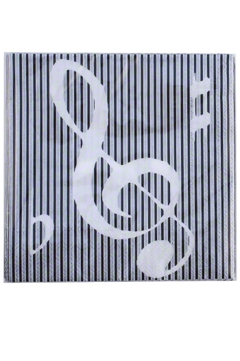 Black & Silver Striped Music Themed Paper Napkins