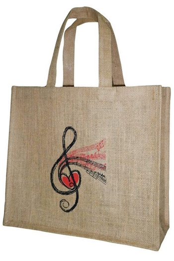 Jute Shopper - Treble Clef Design