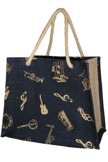 Jute Mini Shopper - Instrument Motif