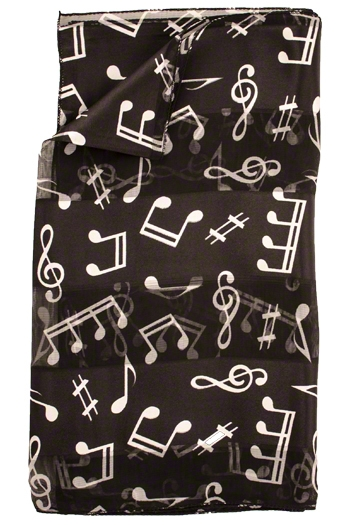Long Black Music Scarf With  White Musical Symbols