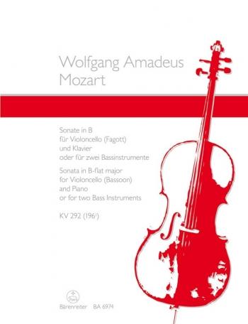 Sonata In Bb: Kv292: Cello Or Bassoon & Piano (Barenreiter)