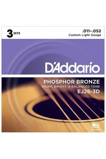 D'Addario Acoustic Guitar EJ26-3D: 3 Set Pack: Phosphor Bronze Custom Light 11-52