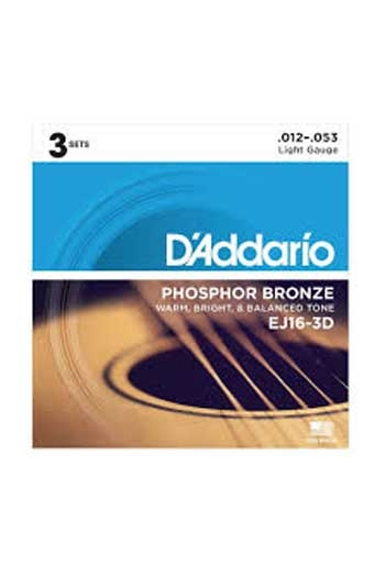 D'Addario Acoustic Guitar EJ16-3D: 3 Set Pack: Phosphor Bronze Light 12-53