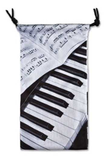 Glasses Case Piano/Sheet Music Textile Black
