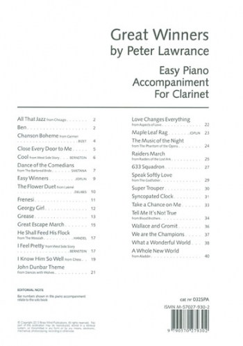 Great Winners For Clarinet: Piano Accompaniment(Lawrance)