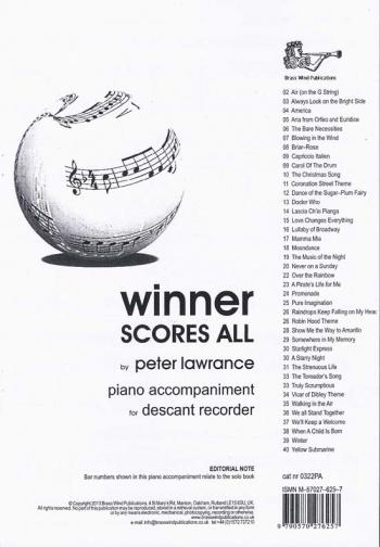 Winner Scores All: Descant Recorder Piano Accompaniment