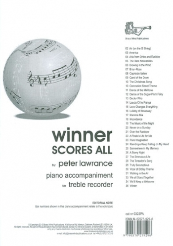Winner Scores All: Treble Recorder Piano Accompaniment