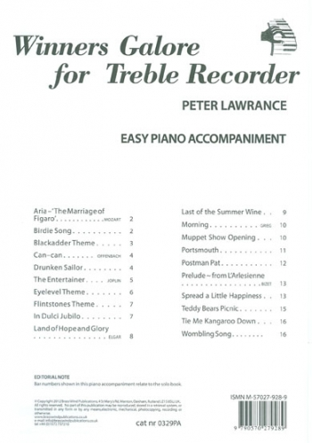 Winners Galore: Treble Recorder Piano Accompaniment