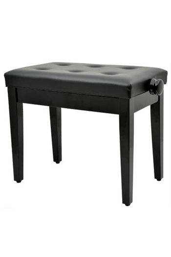 Polished Black Adjustable Piano Stool