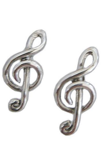 Earrings: Treble Clef: Sterling Silver
