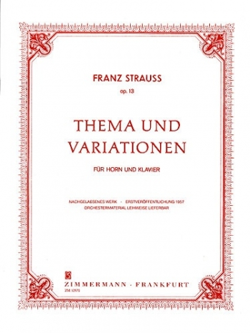Theme & Variations Op. 13:  French Horn & Piano