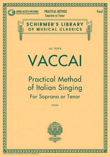 Practical Method Of Italian Singing: Soprano Or Tenor Book & Cd (Schirmer)