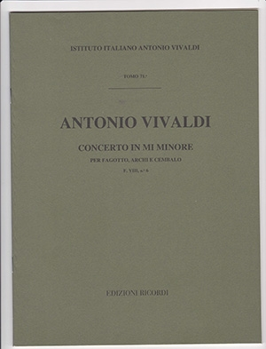 Concerto In E Minor: Rv 484: Bassoon Strings And Harpsichord: Study Score