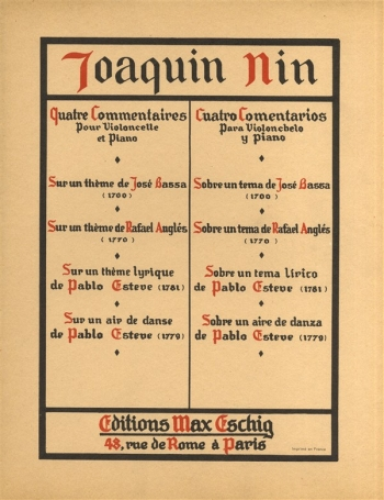 Quatre Commentaires: Cello & Piano (Eschig)