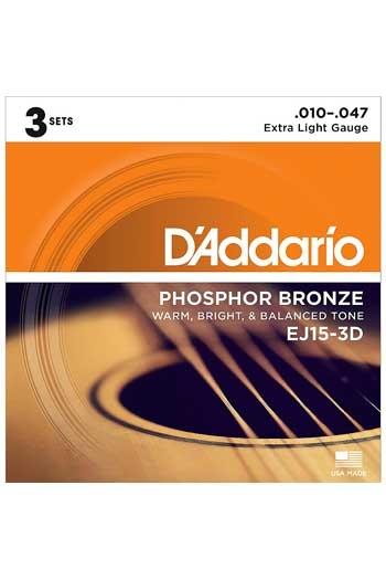 D'Addario Acoustic Guitar EJ15-3D 3 Set Pack Phosphor Bronze Extra Light 10-47