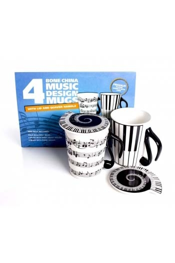 Pack Of 4 Bone China Music Design Mugs: Mugs And Lids