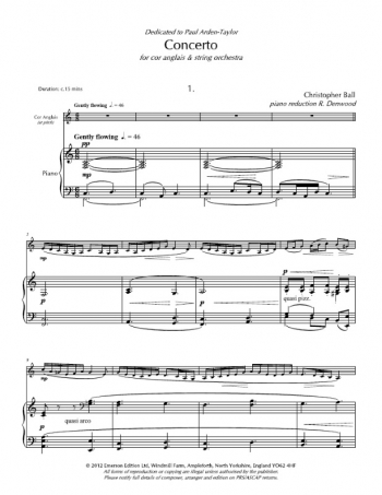 Concerto For Cor Anglais & Piano (Emerson)