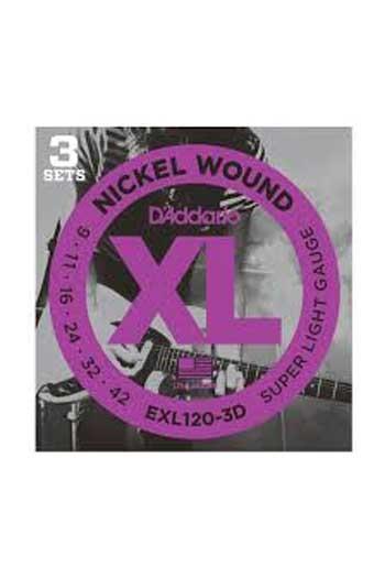 D'Addario Electric Guitar Exl120-3D 3 Sets Nickel Wound Regular Super Light 9-42