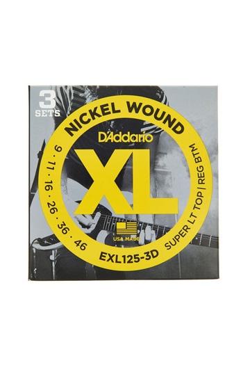 D'Addario Electric Guitar EXL125-3D 3 Set Nickel Super Light Top/ Regular Bottom 9-46