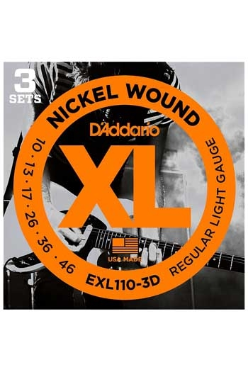 D'Addario Electric Guitar Exl110-3D 3 Sets Nickel Wound Regular Light 10-46