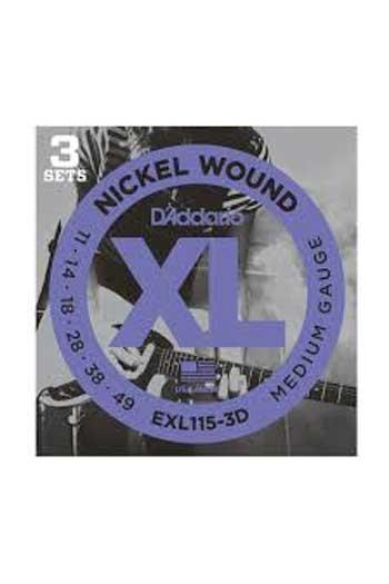 D'Addario Electric Guitar Exl115-3D 3 Sets Nickel Wound Medium Blues/Jazz Rock 11-49