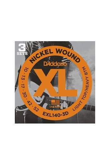 D'Addario Electric Guitar Exl140-3D 3 Sets Nickel Wound Light Top/Heavy Bottom 10-52
