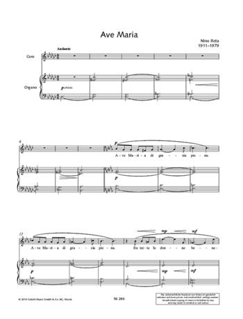 Ave Maria Canzone Sacra Per Cora: Choir And Organ
