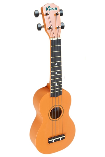 Kona Ukulele In Orange With Cover