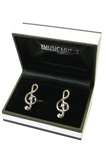 Silver Plated Treble Clef Cufflinks