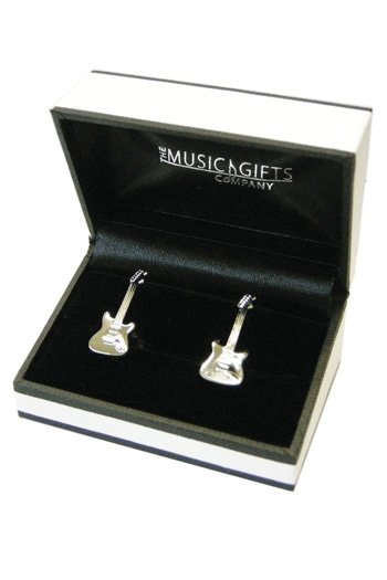 Acoustic Guitar Sliver Plated Cufflinks