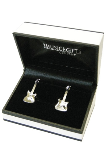 Electric Guitar Silver Plated Cufflinks