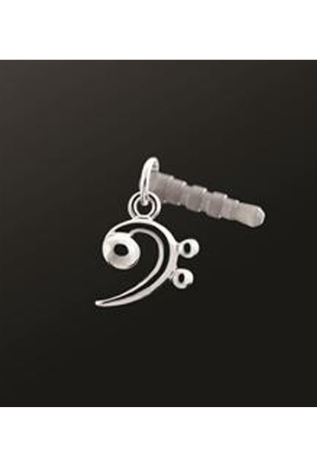 Earphone Plug Bass Clef Silver