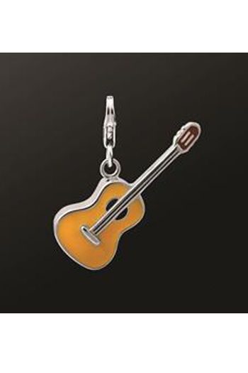 Sterling Silver Guitar Charm Suitable For Necklaces Or Charm Bracelets