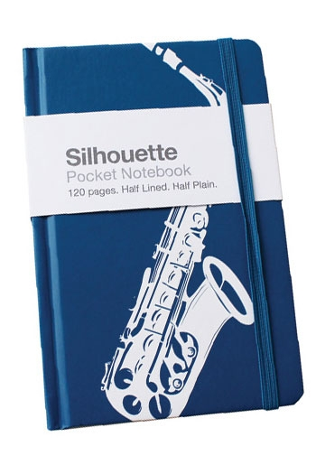 A6 Pocket Notebook Silhouette Saxophone Blue