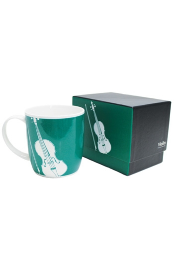 Bone China Mug: Silhouette Violin Teal (Boxed)