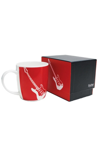 Bone China Mug: Silhouette Electric Guitar Red (Boxed)