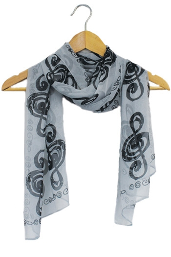 Scarf Music Note Design Black Treble Clefs On White