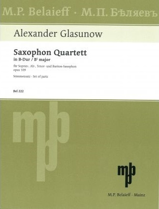Saxophone Quartet Bb Major, Op. 109 Set Of Parts (SATB)