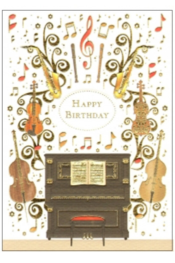Greetings Cards Piano & Instruments Happy Birthday Blank Inside