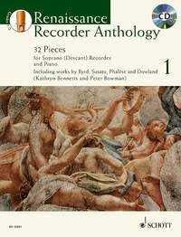 Renaissance Recorder Anthology Vol.1 32 Pieces For Descant Recorder & Piano Book & CD