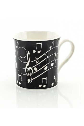 Little Snoring Music Notes Mug – White On Black