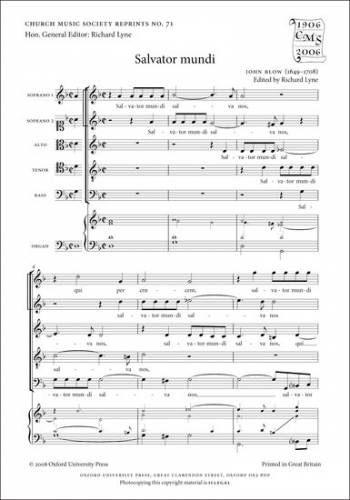 Salvator Mundi Vocal SSATB With Organ